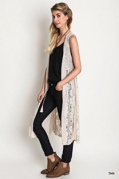 Front Tie long Lace and Knit Vest.