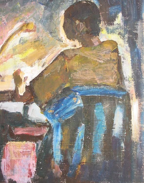 Danuta Krajewska / Piotr przy komputerze / oil on canvas http://dankrajewska.wix.com/painting