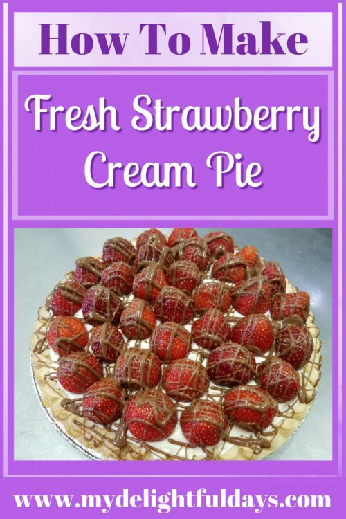 Fresh Strawberry Cream Pie is so easy to make and a great recipe to use during strawberry season!