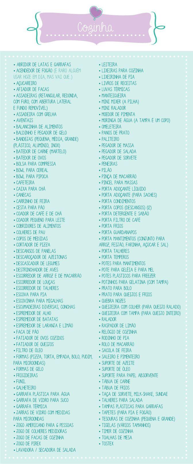 O que pedir no chá de cozinha | chá bar | chá de casa nova? Veja a lista completinha no blog clicando na imagem! Mais