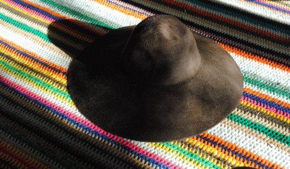 Vintage 1970s Borsalino hat, vintage bohemian hat, dark brown felt bucket hat with floppy brim.