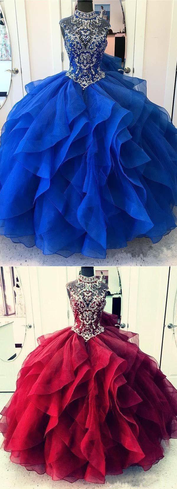Royal blue organza high neck quinceanera dresses prom dress pg