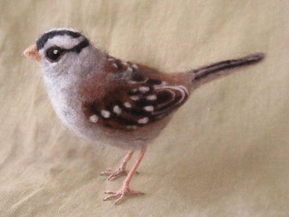 Needle felted bird white crowned sparrow by Ainigmati on Etsy, $75.00