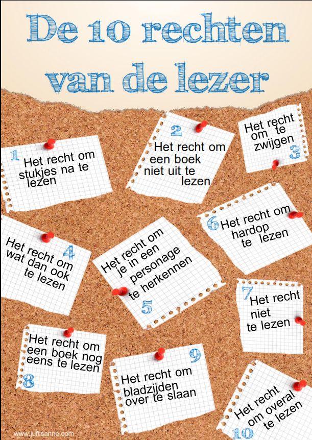 De rechten van de lezer in postervorm! Leuk om in de klas op te hangen.