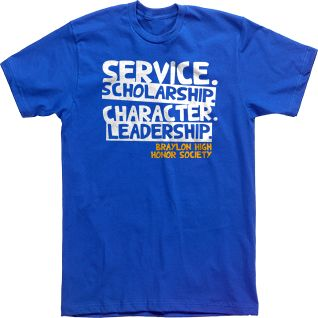 Honor Society T-shirts Custom Tees High School Service Scholarship Character Leadership