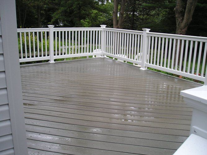 Composite Deck With White Railing Patio Deck Remodel