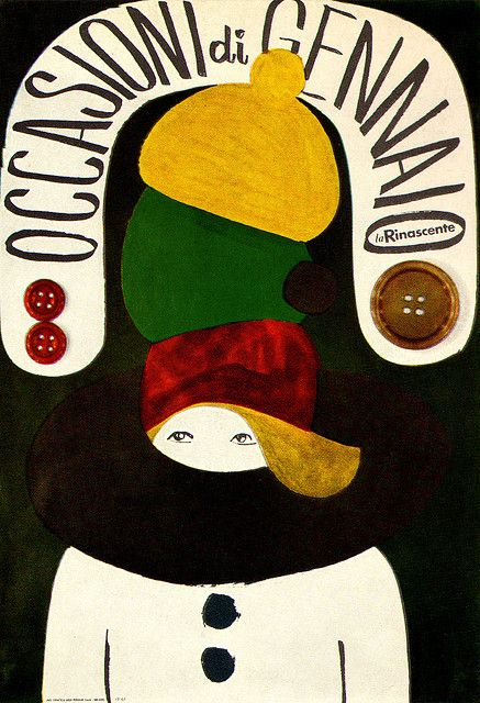 Lora Lamm | Poster for the January sale of women's clothing at La Rinascente, an Italian department store. From Graphis Annual 63/64.