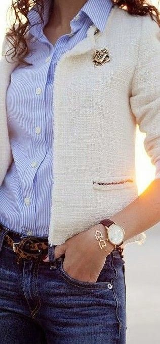 See more Adorable white jacket with blue skirt and jeans style