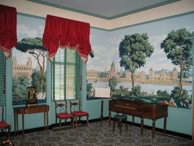 this mural is in point of honor a historical home in lynchburg, vathis mural is in point of honor a historical home in lynchburg, va interior detail lynchburg virginia, bathroom wallpaper, antique wallpaper