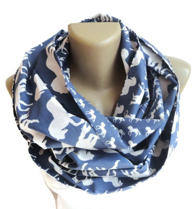 white horse scarf women scarf infinity scarf fashion scarves cotton scarf blue and white scarve scarf senoAccessory by senoAccessory on Etsy