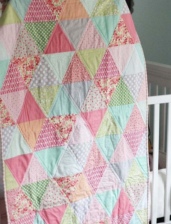 "What a pretty quilt for a baby - Minkee on back. Start with 6 "" strips. She used the Creative Grids 60 degree triangle."