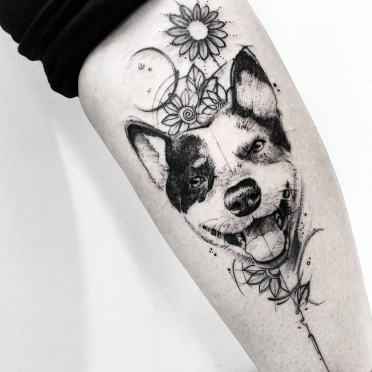 Gorgeous pet dog black and white with floral design tattoo inspiration idea