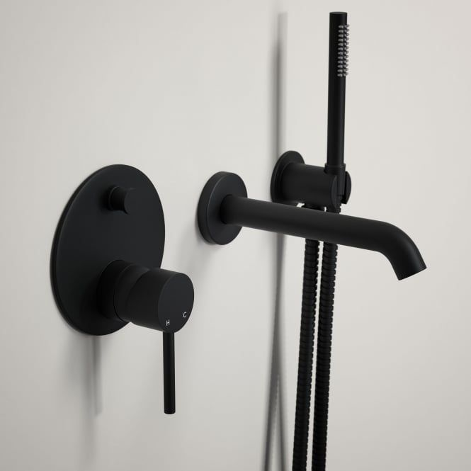 Lusso Luxe Wall mounted bath tap with valve and Handheld shower kit matte black | Taps