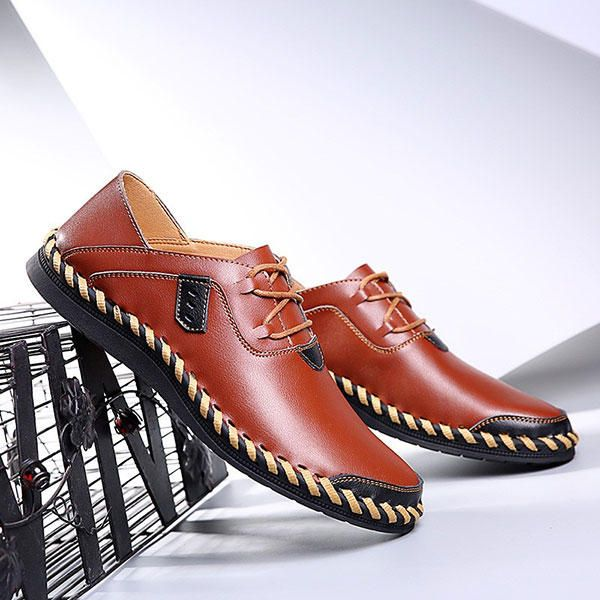 Large Size Men Hand Stitching Genuine Leather Lace Up Casual Oxfords - US$44.99