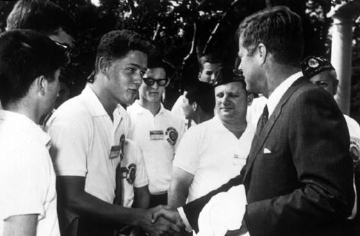 A young Bill Clinton meeting John F. Kennedy at the White House in 1963