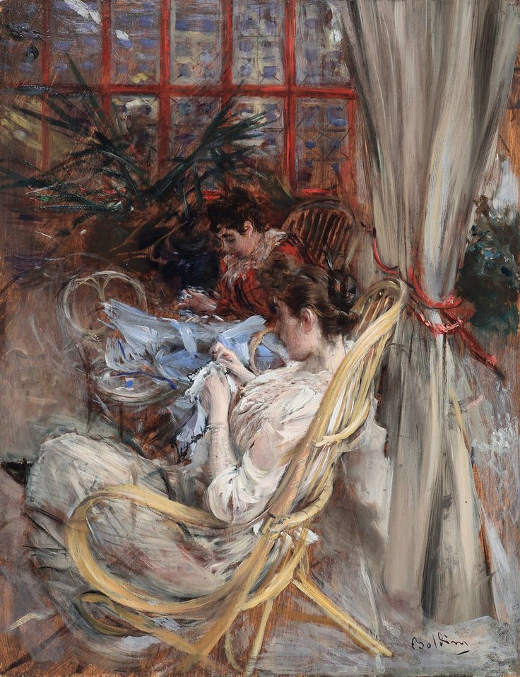 GIOVANNI BOLDINI * 1842-1931 * Italy ~ France ▴ Artistic Accessories  - Women Sewing