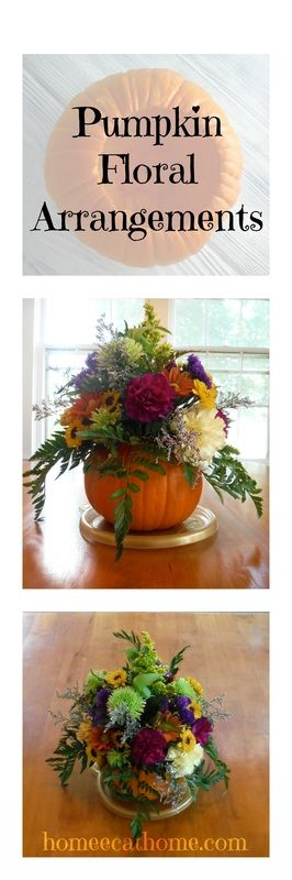Pumpkin Floral Arrangements are a beautiful addition to your fall decorating. #pumpkins #falldecor #pumpkinfloraldesign #floraldesign #falldecorating