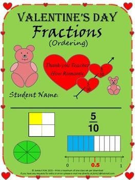 Valentine's Day Fractions - Ordering - 1 Lesson - Four handout sheets - Cheap lesson option on Valentine's Day (with answers): Valentine's Day! Valentine's Day! Looking for some Valentine's Day worksheets to cover a lesson for Fractions - Ordering? Than you have come to the right place.