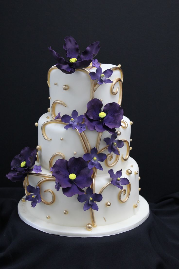 Wedding Cake, Purple flowers and gold swirls
