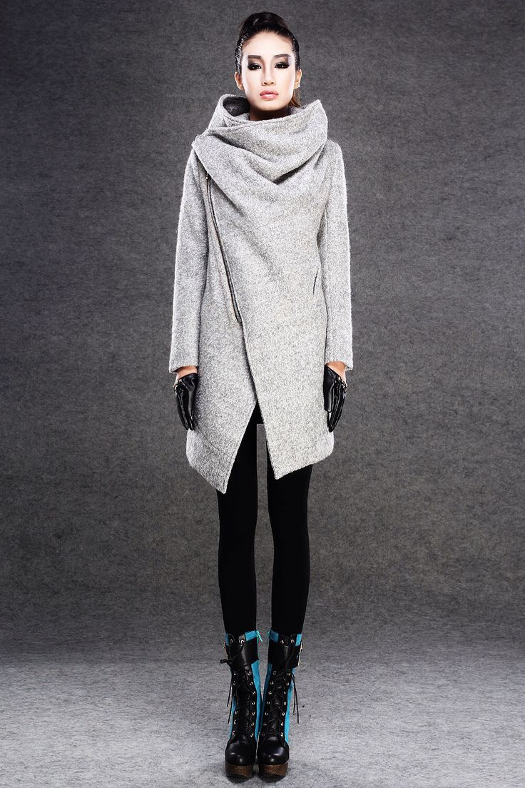 Modern Wool Gray Coat with Asymmetrical Front Zipper and Large Cowl Neck Collar - Women Autumn Winter Outerwear-001 by YL1dress on Etsy https://www.etsy.com/listing/113219134/modern-wool-gray-coat-with-asymmetrical