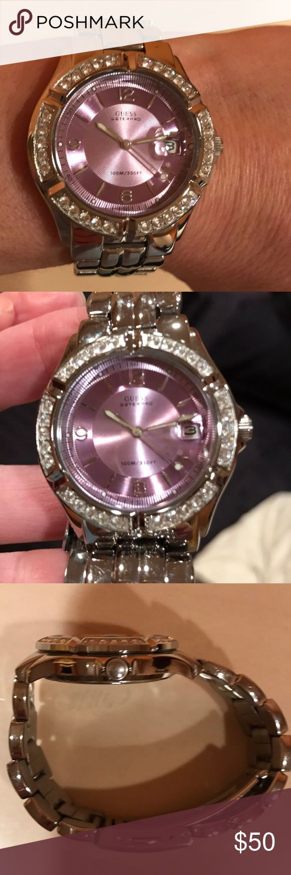 Watch Silver tone watch with lavender face trimmed with rhinestones. Battery needed. Guess Jewelry Bracelets