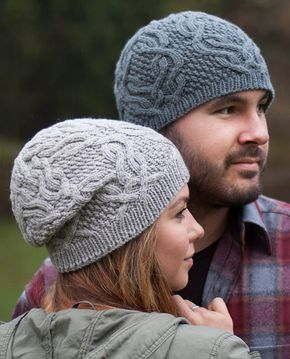 Free Knitting Pattern for Unisex Cable Hat - This unisex hat comes in fitted and slouchy versions with 3 sizes and features cables on textured panels. Designed by Veronika Jobe.