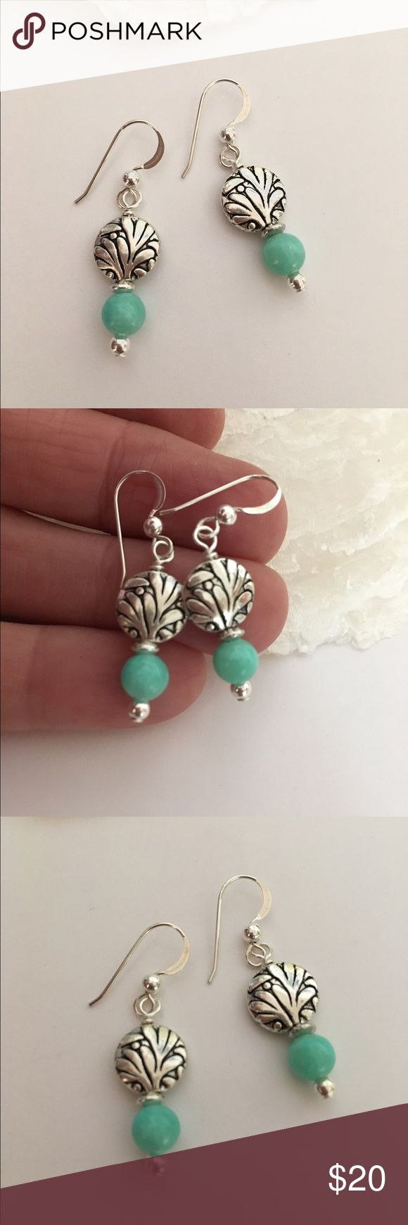 Aqua Quartz Earrings So Pretty for Summer. Dyed Aqua Quartz Gemstones with Antique Silver Lentil and Sterling Silver Earwires with Bead Detail Includes rubber safety backs Jewelry Earrings