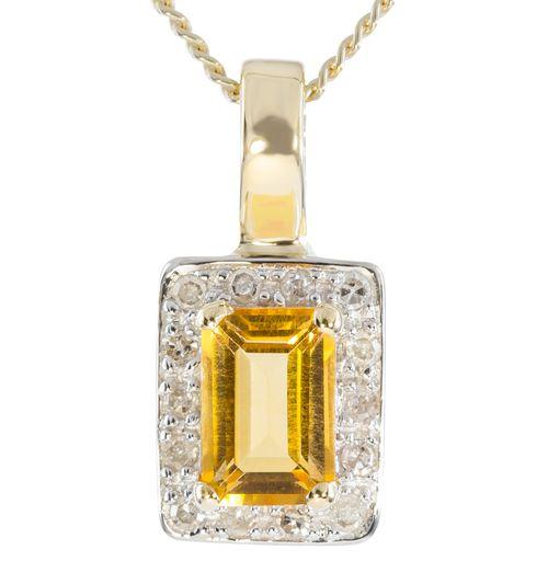 9ct Yellow Gold Diamond  Citrine Enhancer Pendant $94 - purejewels.com.au