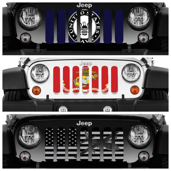 Dirty Acres Grille Inserts Military Flags