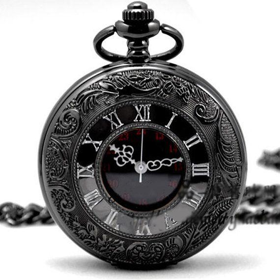 Quartz Pocket Watch Skeleton Black Chrome Pocket Watch Pendant Roman Number pocket watch 264-998