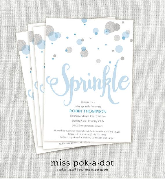 Blue Silver Baby Sprinkle Invitation Printable Confetti Inivte And Glitter Modern Simple In The Pinterest Boy