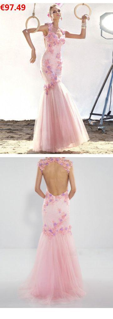 Mermaid-Stil Träger aus Tüll wunderschöne Abendkleider rosa lang                                 Specifications                                              ÄRMELLÄNGE          Ärmellos                                  AUSSCHNITT          Träger                                  Farben