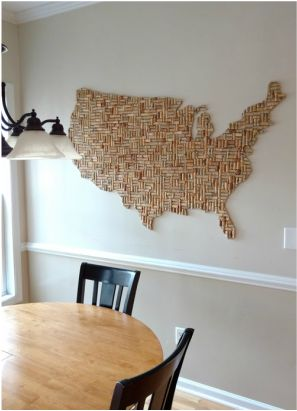 Wine Corks Reused - USA shaped wine cork wall art (approx. ~5x3') Learn how to make any shape using old corks. DIY re-purpose. Wine cork board.