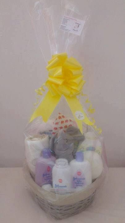 79 best baby gift ideas images on pinterest diaper cakes diaper elephant themed baby hamper negle Choice Image