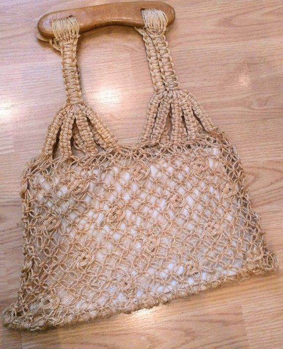 7f4c5d3960f54 Items similar to 1960s Woven Bag   Vintage 60s 70s Braided Knotted Woven  Jute Rope Wooden Handle Tote Bag   Woven Purse Handbag Boho Hippie Bohemian  on Etsy