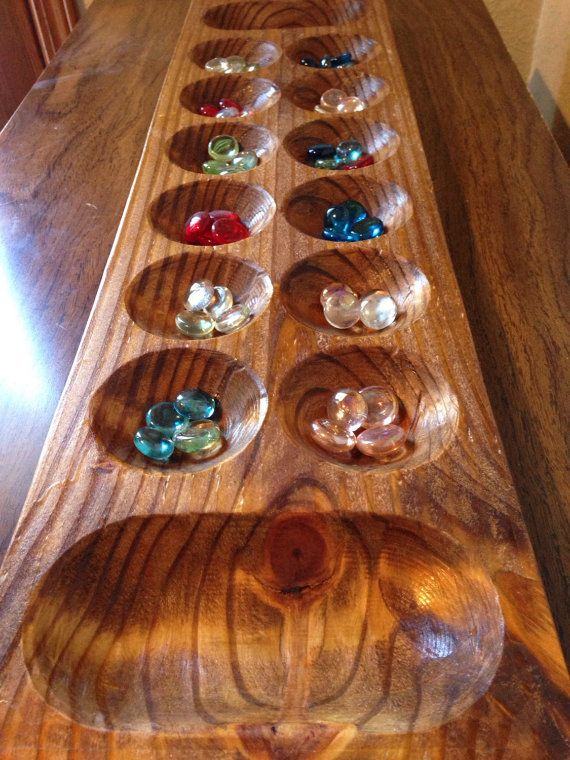 Mancala Wooden Large Game Board Wood African Gem Stone Transfer Carved Pits Banks