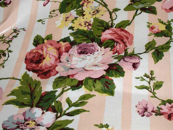 """Mario Buatta Floral Chintz Fabric  """"Sally's Stripe""""  From Early 90s....{2}"""