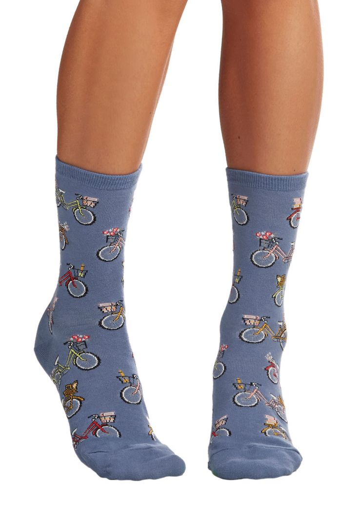 Relaxing Ride Socks. For a day of outdoor activities, you choose to be both comfortable and playful in these lake-blue printed socks. #blue #modcloth