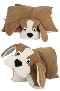 Sweet Dog Fleece Pillow ~ two comforts in one -- he can be laid flat to be a small pillow, or fasten the button on his belly and he's transformed into a stuffed animal! Makes an excellent travel pillow ~ purchase benefits animal rescue via The Animal Rescue Site
