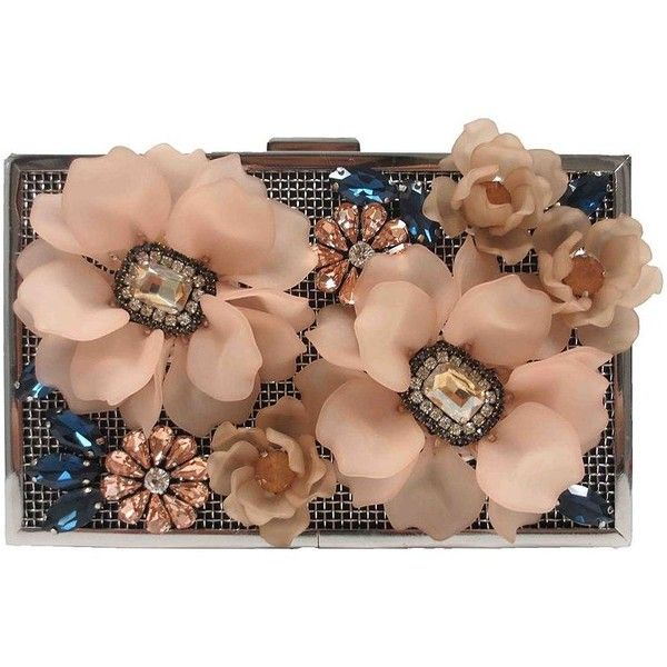 Sondra Roberts Embellished Chain Strap Clutch featuring polyvore, women's fashion, bags, handbags, clutches, purses, bolsas, sondra roberts purse, beige clutches, sondra roberts clutches, floral handbags and embellished handbags