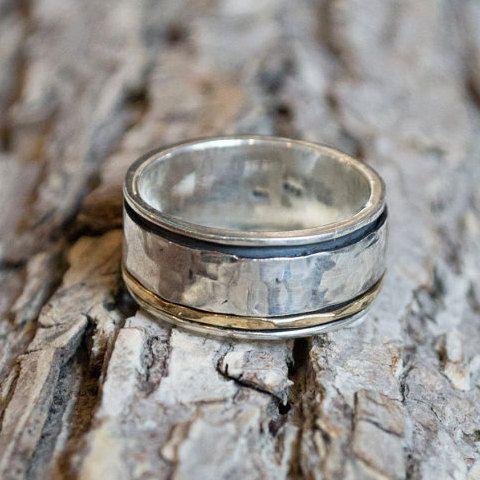 Mannen bruiloft band 14 k white gold ring gele door artisanlook
