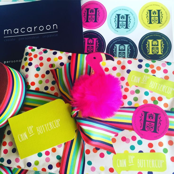 Macaroon monogram gift stickers - personalize and order online to make any pressie look perfect