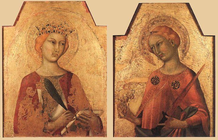 Святая Екатерина и Святая Лусия. 1320-25 Дерево, темпера. Беренсон Коллекция, Settignano (Сеттиньяно).