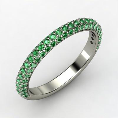 The Slim Pave Band #customizable #jewelry #emerald #platinum #ring