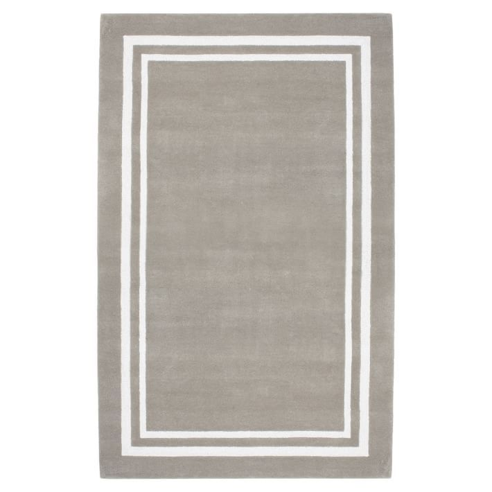 Decorator Border Rug, 8x10, Warm Gray