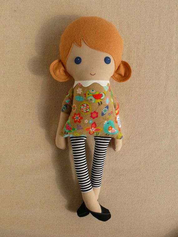Fabric Doll Rag Doll Blond Girl in Sweet Bird Print Dress and Striped Leggings on Etsy, $40.14 AUD