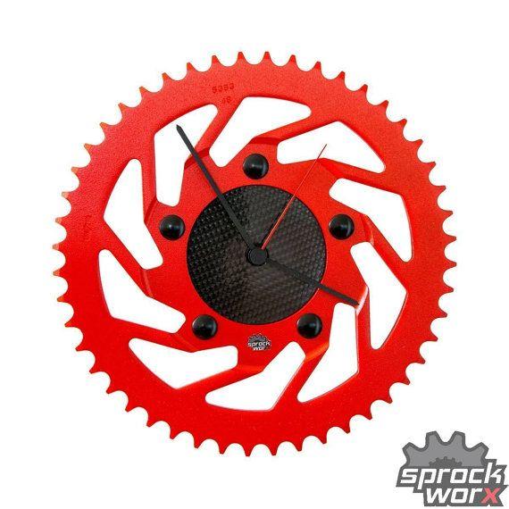 RedTurboCarbon Limited Edition - Handmade motorcycle sprocket carbon fiber clock