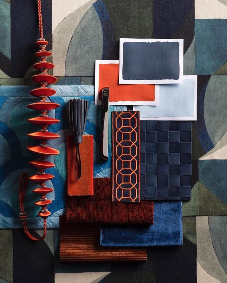 Love this strong combination of burnt orange and navy. Use in a bedroom for a bit of zest.