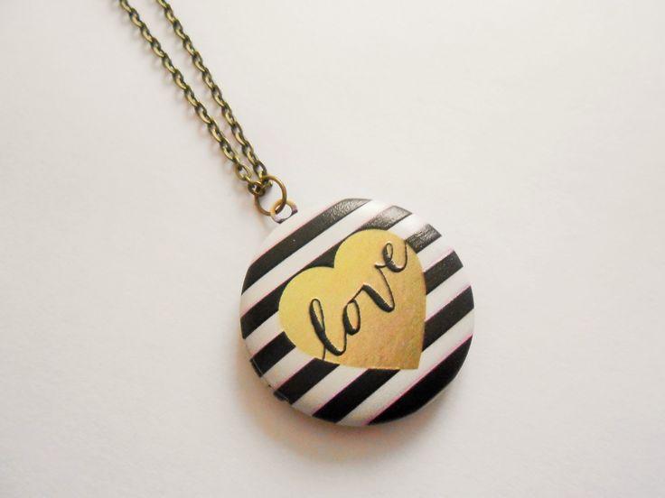 collier love - collier coeur - collier porte photo - collier pendentif porte photo - collier photo - collier pendentif : Collier par esthete-bijoux
