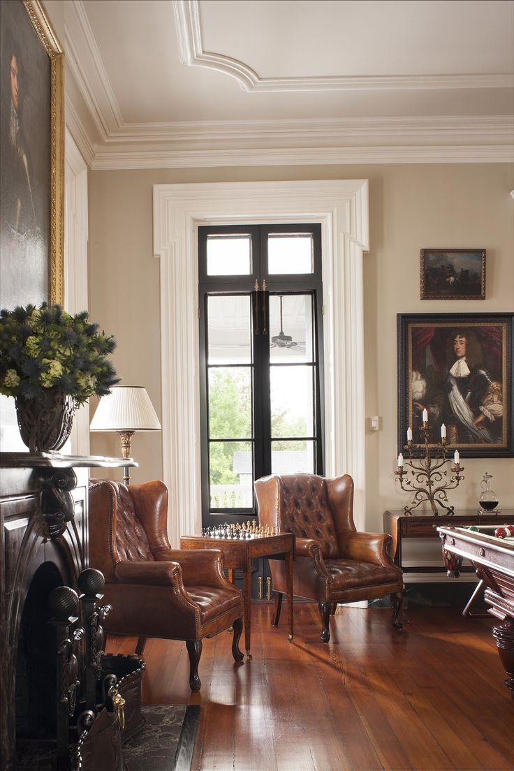 Tufted Leather Chairs In Traditional Charleston Game Room. SLC INTERIORS   Interior  Design   Charleston